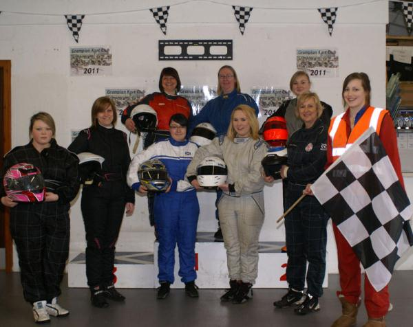 Women in Motorsport group at Boyndie Kart Track