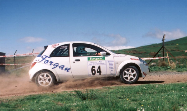 White Ford Ka rally car