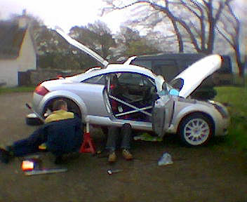 Crew working on their Audi TT